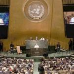 Papa Francisco falando na ONU