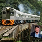 Trem da Serra Verde, na serra do Mar; no destaque Adonai Arruda Filho: empreendedor