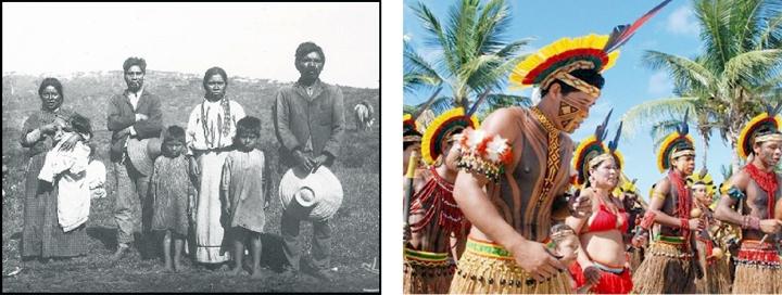 Índios Kaingang na década de 1950 (Acervo do Museu do Índio); Hoje os Kaingang se dedicam à preservação cultural