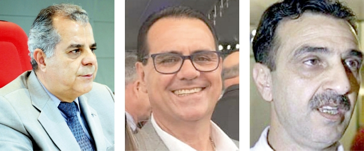 """Sinval Dias dos Santos, """"presidente da Boca Bendita""""; Hernani Bergossi, primeiro secretário; Luiz Eduardo Dib, primeiro vice-presidente"""
